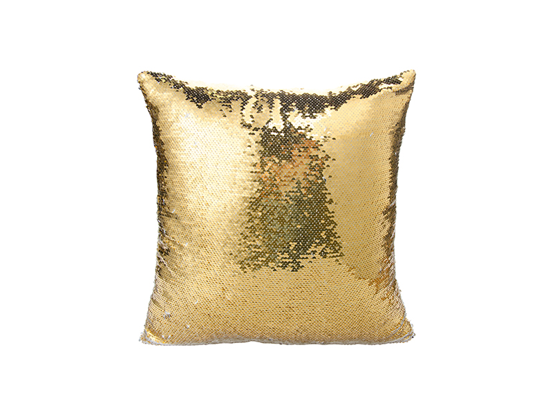 Flip Sequin Pillow Cover Gold W Silver Free